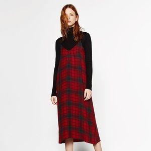 Zara red plaid midi dress